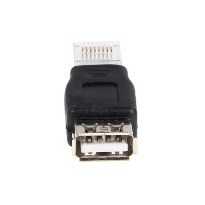USB AF to RJ45 Male Adapter for Convert Connector Extension Cable -Black