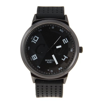 Men's Watch with Quartz Analog Round Dial Rubber Watchband