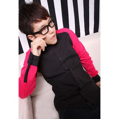 Stylish Contrast Color Long Sleeve T-Shirt for Men