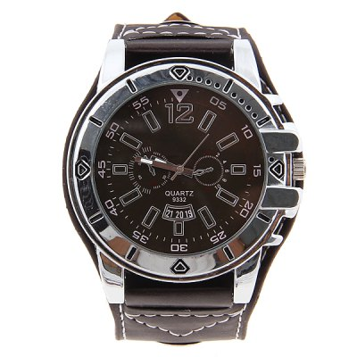 Business Style Mens Wrist Watch with Round Dial Wide Leather BandMens Watches<br>Business Style Mens Wrist Watch with Round Dial Wide Leather Band<br>