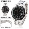 Leisure Style Curren Fashion Quartz Analog Watch with Waterproof Black Round Shaped Steel Band for Male (Silver)