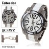 Fashion Calendar Function Quartz Analog Watch with Waterproof Round Shaped Steel Band for Male - White
