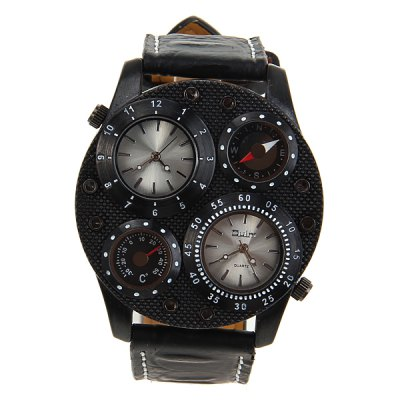 Гаджет   Military Watches with Double - movt Multi - function Compass Thermometer Round Dial and Leather Band Men