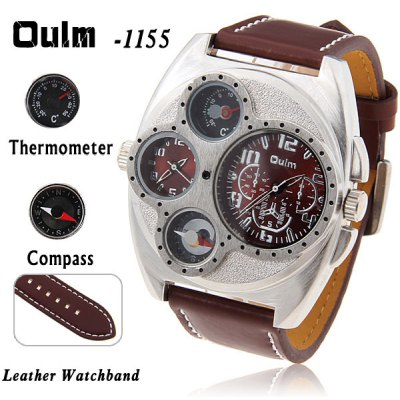 Military Multi - fuction Watches with Double Movt Compass and Thermometer