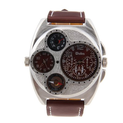 Military Multi - fuction Watches with Double Movt Compass and ThermometerWatches &amp; Jewelry<br>Military Multi - fuction Watches with Double Movt Compass and Thermometer<br><br>Brand: Oulm<br>Watches categories: Male table<br>Watch style: Military<br>Movement type: Double-movtz<br>Shape of the dial: Round<br>Display type: Pointer<br>Band material: Leather<br>Clasp type: Pin buckle<br>Special features: A thermometer, A compass<br>The dial thickness: 1.2 cm<br>The dial diameter: 5.5 cm<br>Product weight: 0.1 kg<br>Package weight: 0.15 kg<br>Product size (L x W x H): 27.8 x 5.7 x 1.2 cm<br>Package size (L x W x H): 28.8 x 6.7 x 2.2 cm<br>Package Contents: 1 x Watch