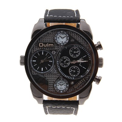 Гаджет   Military Watches with Double Movt Round Dial and Leather Band Watches