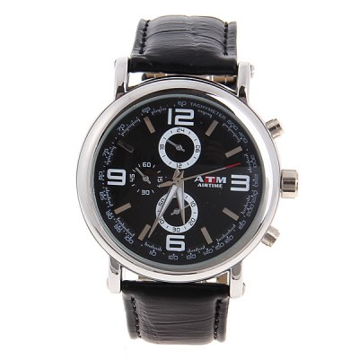 Black Leather Quartz Analog Watch with Numerals and Strips Hour Marks Black Dial for MaleMens Watches<br>Black Leather Quartz Analog Watch with Numerals and Strips Hour Marks Black Dial for Male<br>