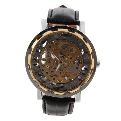 ФОТО Trendy Mechanical Watch with Water Resistant Silver Dial 20mm Leather Watchband for Male