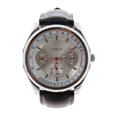 Гаджет   Trendy Fizele Mechanical Watch with Water Resistant White Dial 25mm Leather Watchband for Male Men
