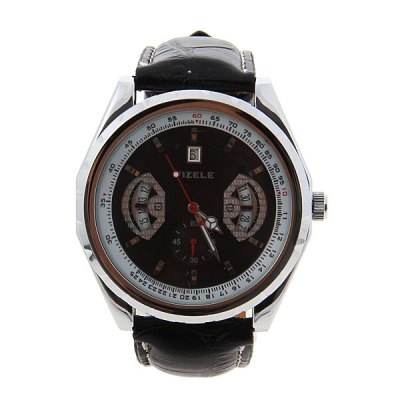 ФОТО Trendy Fizele Mechanical Watch with Water Resistant Black Dial 25mm Leather Watchband for Male