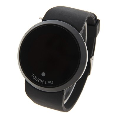 Red LED Touch Screen Multi - functional Watch with Round Dial and Silicon Band