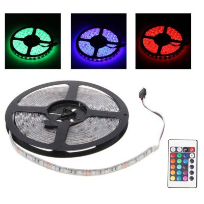 5 Meters 12V 300 LEDs PCB 5050 SMD RGB Light Waterproof LED Strip Lights With Remote Controller