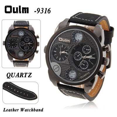 Military Watches with Double Movt Round Dial and Leather Band