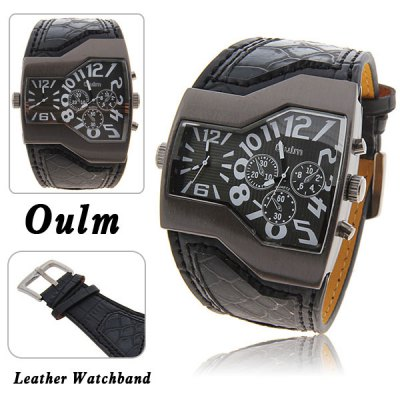 Oulm Men Military Sports Watch Dual Movt Quartz Wristwatch with Leather Band Decorative Sub - dials