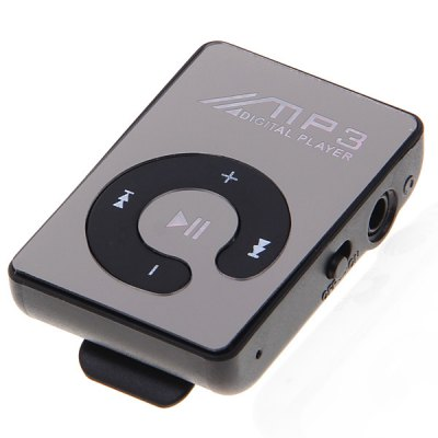 Mirror Surface Mini MP3 Player with Back Clip/TF Card Solt/Built - in Lithium Battery