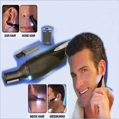 Multifunctional Hair Remover with LED Light for Men - Black