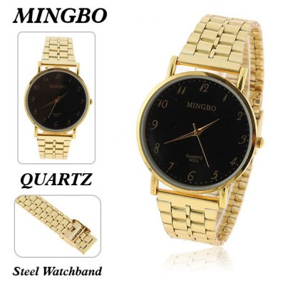 Mingbo Men's Watches with Quartz Round Dial Steel Band