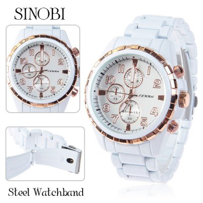 Sinobi Steel Quartz Analog Watch for Men with Round Dial in Fashion Design - White and Golden