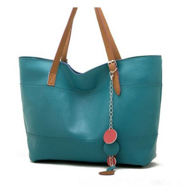 Casual Candy Color and Pedant Design Shoulder Bag For Women