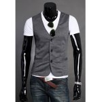 Buy Deep gray New Style Casual Three Bottons Design Simple Waistcoat Men-13.16 Online Shopping GearBest.com
