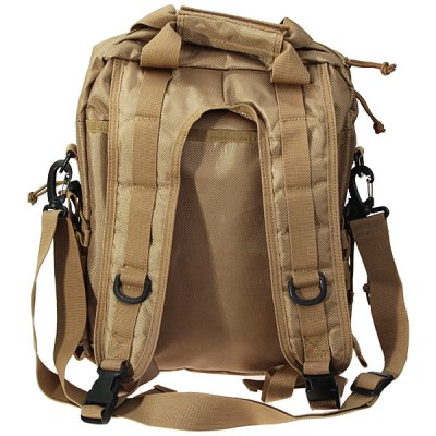 New Arrival Military Style Laptop Bag Outdoor Double Shoulder BackpackBackpacks<br>New Arrival Military Style Laptop Bag Outdoor Double Shoulder Backpack<br><br>Type: Backpack<br>For: Fishing, Camping, Hiking, Adventure, Cycling, Travel<br>Material: Nylon<br>Capacity: &lt;20L<br>Color: Khaki, Black, Camouflage<br>Product weight   : 0.9 kg<br>Package weight   : 1.1 kg<br>Product size (L x W x H)   : 34 x 10 x 41 cm<br>Package size (L x W x H)  : 35 x 10 x 42 cm<br>Package Contents: 1 x Laptop Bag
