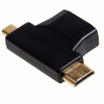 Gold-plated HDMI to Micro and Mini HDMI F-M Adapter Converter  -Black