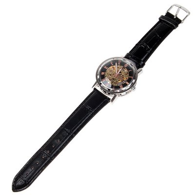 Hollow Mechanical Watch with Analog Round Dial Leather Watchband