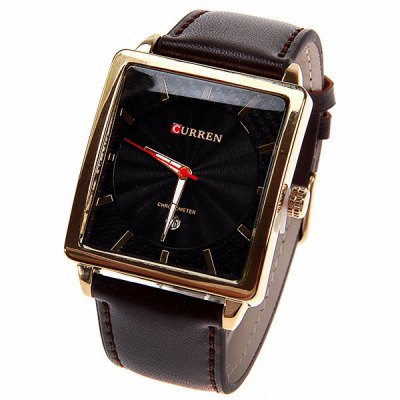 Curren Men's Watch with Calendar Function Black Quartz Analog Square Dial 25mm Leather Watchband (Brown)