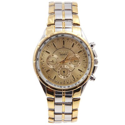 Cheap Watch with Three Small Decorating Hands Round Dial and Steel Band for Men