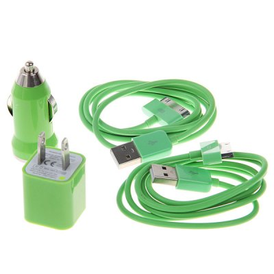 Cool Design US Power Adapter+ Car Charger + 2PCS 1M 30 Pin Cable for iPhone 4 / 4S , 3G / 3GS