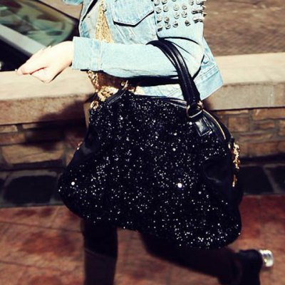Solid Color Sequins Zipper Design Tote For Women