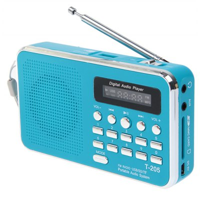 T - 205 Stylish HiFi Digital Multimedia Speaker Portable Loudspeaker Music Player Support TF Card