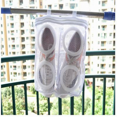 Lightweight Mesh Shoes Dryer Bag Washing  Bag with Zip Closure - White