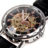 cheap Hollow Mechanical Watch with Analog Round Dial Leather Watchband
