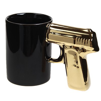 Ceramics Pistol Modelling Cup (Golden and Black)