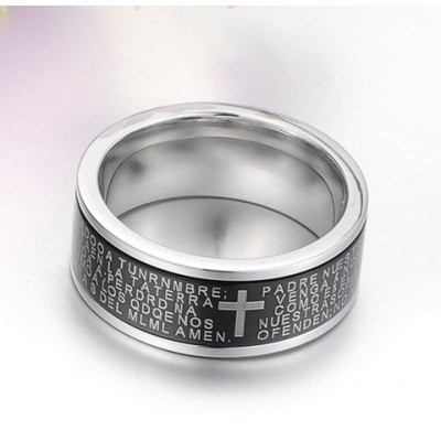 Fashion Simple Style Cross and English Bibles Print Design Ring For Men