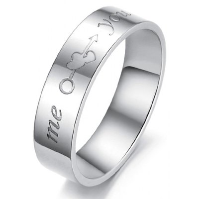 English Letter Print Design Love Ring