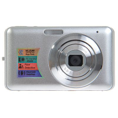 15.0MP 2.7 inch LCD Digital Camera 8X Digital Zoom Anti - Shake, Smile DetectionDigital Camera<br>15.0MP 2.7 inch LCD Digital Camera 8X Digital Zoom Anti - Shake, Smile Detection<br><br>Language: Chinese, Spanish, Russian, French, French, German, Italian, English, Portuguese<br>Pixel: &gt;1300w<br>Display size (inch): 2.7<br>Screen type: Normal screen<br>Image resoluion: 4480 x 3360 (15MP), 640 x 480 (VGA), 3072 x 2304 (7MP), 4416 x 3312 (14MP), 2592 x 1944 (5MP), 4000 x 3000 (12MP), 2048 x 1536 (3MP), 3648 x 2736 (10MP), 1600 x 1200 (2MP), 3456 x 2592 (9MP), 1280 x 1<br>Sensor size (inch): 1/2.5<br>Special performance: Face detection, Smile Capture<br>Battery type: Lithium Battery<br>Battery capacity: 3.7V 850mAh<br>Video resolution: 640 x 480, 320 x 240<br>Lens type: Periscopic<br>Scene: Party, Portrait, Scenery, Beach, High sensitivity, Auto / Night portrait, Sports, Night scenery<br>White balance: Fluorescent, Auto, Daylight, Cloudy, Incandescent<br>ISO: 400, Auto, 200, 100<br>Exposure compensation : +3EV, -3EV<br>File format: AVI, JPEG<br>TV System : NTSC, PAL<br>Interface: SD card slot, USB 2.0 interface<br>Memory support : SD card<br>External memory storage(Maximum, not included): SD card up to 32GB<br>Product weight: 0.097 kg<br>Package weight: 0.300 kg<br>Product size (L x W x H): 9.5 x 5.5 x 2.0 cm<br>Package size (L x W x H): 16.0 x 13.5 x 5.5 cm<br>Package contents: 1 x 15.0MP Digital Camera, 1 x AC Charger, 1 x USB Cable, 1 x Audio Cable, 1 x Lithium Battery, 1 x Wrist Strap, 1 x Camera Bag, 1 x User Manual