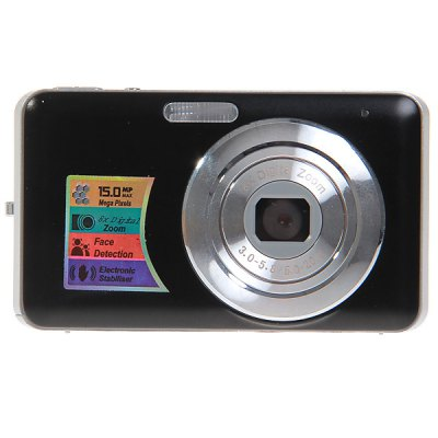 15.0MP 2.7 inch LCD Digital Camera 8X Digital Zoom Anti - Shake, Smile DetectionDigital Camera<br>15.0MP 2.7 inch LCD Digital Camera 8X Digital Zoom Anti - Shake, Smile Detection<br><br>Language: English, Italian, French, French, Russian, Spanish, Chinese, German, Portuguese<br>Pixel: &gt;1300w<br>Display size (inch): 2.7<br>Screen type: Normal screen<br>Image resoluion: 3456 x 2592 (9MP), 1600 x 1200 (2MP), 3648 x 2736 (10MP), 2048 x 1536 (3MP), 4000 x 3000 (12MP), 2592 x 1944 (5MP), 4416 x 3312 (14MP), 3072 x 2304 (7MP), 640 x 480 (VGA), 4480 x 3360 (15MP), 3264 x 2<br>Sensor size (inch): 1/2.5<br>Special performance: Smile Capture, Face detection<br>Battery type: Lithium Battery<br>Battery capacity: 3.7V 850mAh<br>Video resolution: 320 x 240, 640 x 480<br>Lens type: Periscopic<br>Scene: Auto / Night portrait, High sensitivity, Beach, Scenery, Portrait, Party, Night scenery, Sports<br>White balance: Cloudy, Daylight, Auto, Fluorescent, Incandescent<br>ISO: 400, 200, 100, Auto<br>Exposure compensation : +3EV, -3EV<br>File format: AVI, JPEG<br>TV System : NTSC, PAL<br>Interface: SD card slot, USB 2.0 interface<br>Memory support : SD card<br>External memory storage(Maximum, not included): SD card up to 32GB<br>Product weight: 0.097 kg<br>Package weight: 0.300 kg<br>Product size (L x W x H): 9.5 x 5.5 x 2.0 cm<br>Package size (L x W x H): 16.0 x 13.5 x 5.5 cm<br>Package contents: 1 x 15.0MP Digital Camera, 1 x AC Charger, 1 x USB Cable, 1 x Audio Cable, 1 x Lithium Battery, 1 x Wrist Strap, 1 x Camera Bag, 1 x User Manual