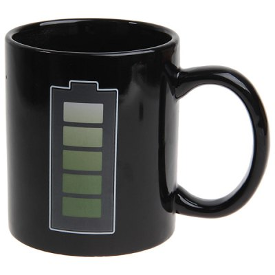 Battery Level Color Changing Heat Sensitive Coffee Cup Mug (Black)Home Gadgets<br>Battery Level Color Changing Heat Sensitive Coffee Cup Mug (Black)<br><br>Style: Creative<br>Type: Others, Fruit Juice, Coffee, Milk, Water, Beer<br>Suitable for: Others, KTV, Home<br>Material: Ceramics<br>Color: Black<br>Main Features: When pouring hot water, the black cup with battery image will change to green image; When the cup slowly cooling, the white cup will change to black cup.<br>Product weight: 0.336 kg<br>Package weight: 0.4 kg<br>Product size (L x W x H): 11 x 8 x 9.5 cm<br>Package size (L x W x H): 11.5 x 9 x 13.5 cm<br>Package Contents: 1 x Cup