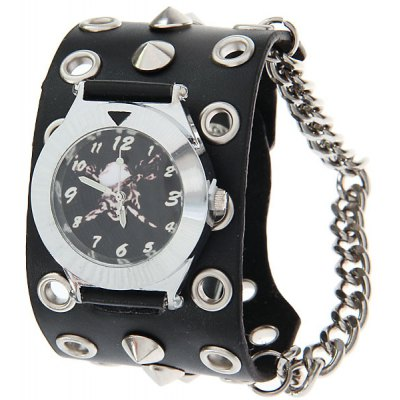 Bracelet Watch with Arabic Numerals Black Dial Spike Flat Watchband