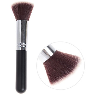 Soft Cosmetic Copper Tube Flat Brush (Black and Silver)