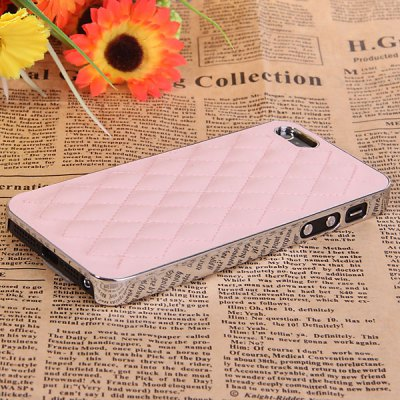 Fashion Rhombus Style PU Leather + Electroplating Plastic Shell Case for iPhone 5 / 5S