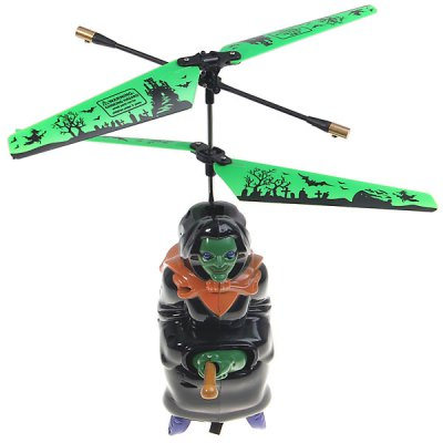 NO.SY-054 Remote Control USB 3.5 Channels Flying Witch Helicopter/Airplane Model Toy with Light for Children - Black
