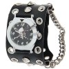 Cool Punk Men's Quartz Wrist Bracelet Watch Arabic Numerals with Round Dial Flat Black Leather Spike Watchband