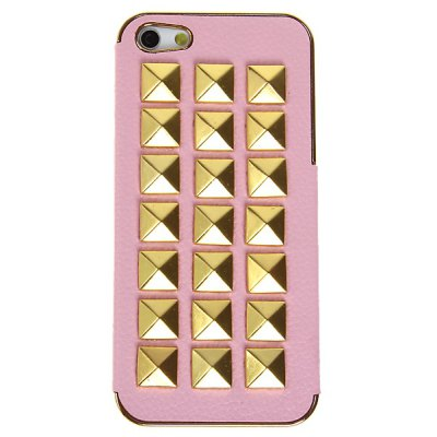 Nail Style PU Leather and Plastic Case for iPhone 5