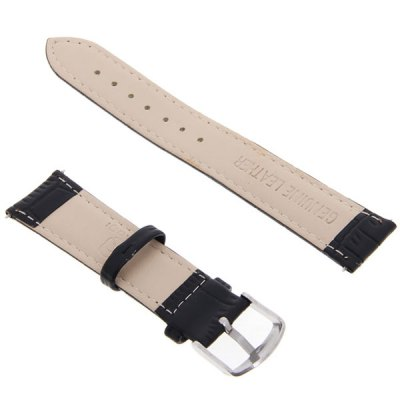 Гаджет   BiaoQi 20mm Leather Band for Watch - Black Watch Accessories