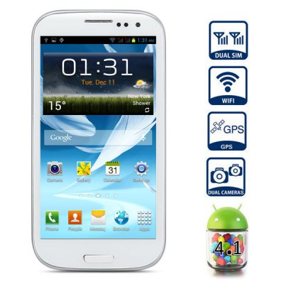 4.7 inch G9300 Android 4.1 3G Smart Phone with WVGA Screen Dual SIM Dual Core 1GHz 8MP Camera GPS