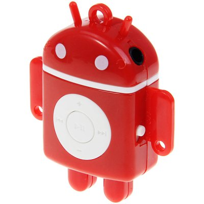 Cute Mini Android Robot Shape Support TF Card Digital MP3 Music Player