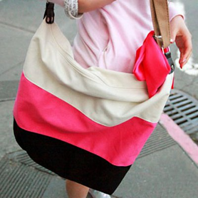 Stripes and Canvas Design Shoulder Bag For Women